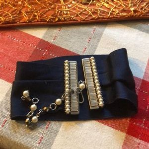 Marc Jacobs satin choker with pearls crystals